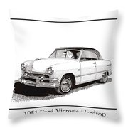 1951 Ford Victoria Hardtop Throw Pillow