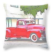 1953 Red Chevy Pickup Truck Throw Pillow