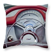1954 Chevrolet Corvette Steering Wheel Throw Pillow