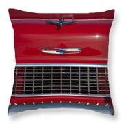 1955 Chevrolet 210 Hood Ornament And Grille Throw Pillow