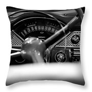 1955 Chevy Bel Air Dashboard In Black And White Throw Pillow by Sebastian Musial