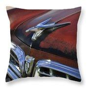 1955 Chrysler Windsor Deluxe Hood Ornament Throw Pillow