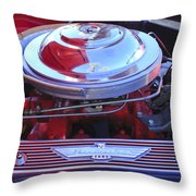 1955 Ford Thunderbird Engine Throw Pillow