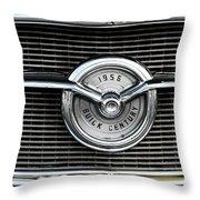 1956 Buick Century Grill Emblem Throw Pillow