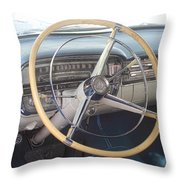 1956 Cadillac Steering Wheel And Dash Throw Pillow