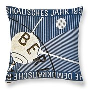 1957 - 1958 East German Sputnik Stamp Throw Pillow