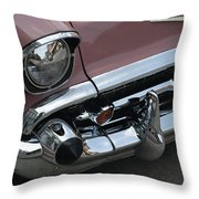 1957 Coral Chevy Bel Air Throw Pillow