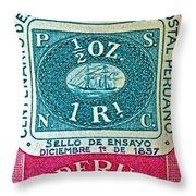 1957 Peru Ten Centavos Stamp Throw Pillow