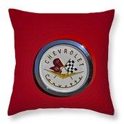1957 Red Corvette Emblem Throw Pillow
