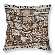 1958 Lincoln-douglas Debates Stamp Throw Pillow