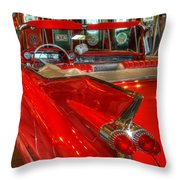 1959 Cadillac At The Pumps Throw Pillow