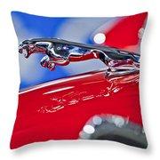 1961 Jaguar Kougar Hood Ornament 2 Throw Pillow