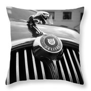 1963 Jaguar Front Grill In Balck And White Throw Pillow