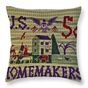 1964 Homemakers Five Cent Stamp Throw Pillow
