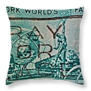 1964 New York World's Fair Stamp Throw Pillow