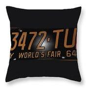 1965 New York World's Fair License Plate Throw Pillow