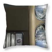 1966 Cadillac Emblem And Headlight Throw Pillow