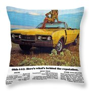 1968 Oldsmobile 4-4-2 - Here's What's Behind The Reputation. Throw Pillow