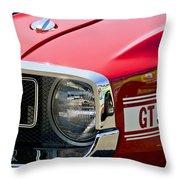1969 Shelby Gt500 Convertible 428 Cobra Jet Grille Emblem Throw Pillow