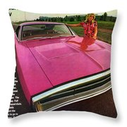 1970 Dodge Charger Tickled Pink Throw Pillow