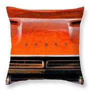 1971 Dodge Challenger - Orange Mopar Typography - Mp002 Throw Pillow