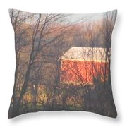 1nov2012 Sunrise On Red Barn Throw Pillow