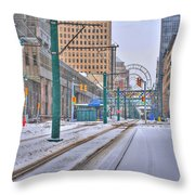 1st Real Snowfall Metro Rail 2012 Throw Pillow