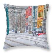 1st Real Snowfall Plow 2012 Throw Pillow