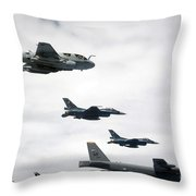 A B-52 Stratofortress Leads A Formation Throw Pillow
