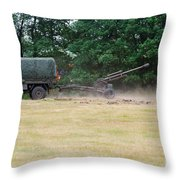 A Belgian Artillery Unit Setting Throw Pillow by Luc De Jaeger