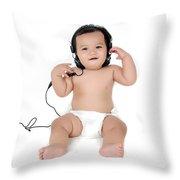 A Chubby Little Girl Listen To Music With Headphones  Throw Pillow