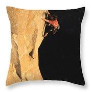 A Man Rock Climbing On El Capitan Throw Pillow