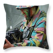 A Paratrooper Of The Belgian Army Throw Pillow