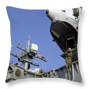 A Soldier Fast-ropes From The Rear Throw Pillow