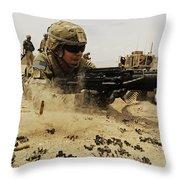 A Soldier Firing His Mk-48 Machine Gun Throw Pillow