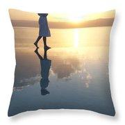 A Woman Enjoys The Warm Sun On The Edge Throw Pillow