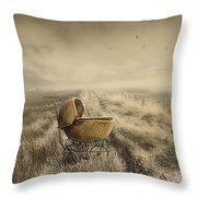 Abandoned Antique Baby Carriage In Field Throw Pillow by Sandra Cunningham