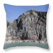 Acidic Crater Lake, Kawah Ijen Volcano Throw Pillow