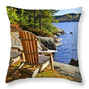 Adirondack Chairs At Lake Shore Throw Pillow by Elena Elisseeva