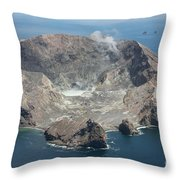 Aerial View Of White Island Volcano Throw Pillow