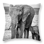 African Elephants In The Masai Mara Throw Pillow