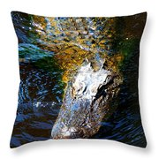 Alligator In Mississippi River Throw Pillow