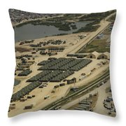 An Aerial View Of The White Beach Throw Pillow