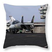 An F-14d Tomcat In Launch Position Throw Pillow