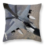 An F-16 Fighting Falcon Receives Fuel Throw Pillow