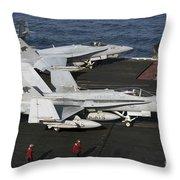 An Fa-18c Hornet During Flight Throw Pillow