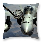 An Fa-18c Hornet Receives Fuel Throw Pillow
