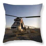 An Iraqi Helicopter Sits On The Flight Throw Pillow