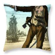 Anne Bonny, 18th Century Pirate Throw Pillow