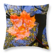 Autumn Leaf On The Water Throw Pillow